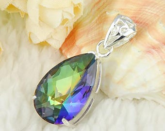 Fashion Lovely water drop Mystic topaz crystal pendant