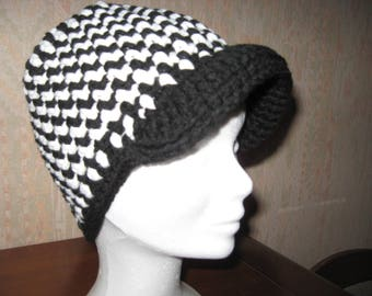 checkered black and white wool houndstooth foot cap style silk joker winters