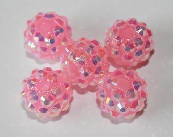 Beautiful resin and Rhinestones, 12mm, set of 5 beads