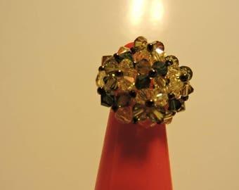 Beautiful light green khaki swarowsky crystals ring