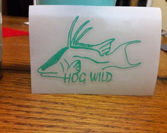 Hog Wild Seafoam Vinyl Hogfish Decal