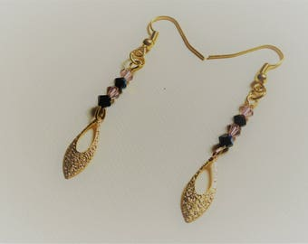 Earrings pearls and gold water drop