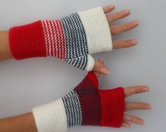 bright red, white hand knitted wool fingerless gloves ivory and blue jean