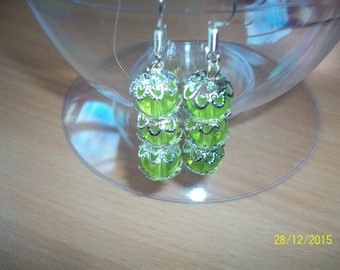 Cup color and glass Pearl Silver Earring
