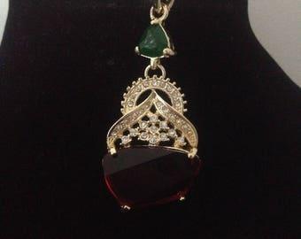 Orentale plated pendant, stone & rhinestones with its napoleon coin