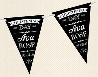 Personalised Chalkboard Bunting - Christening - Formal - Made in UK