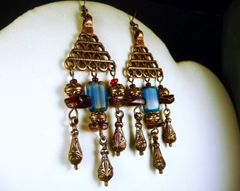 Earrings in copper and blue and Burgundy glass beads