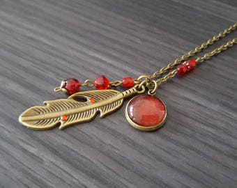 Large red feather necklace