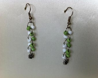 Earrings green and white beads