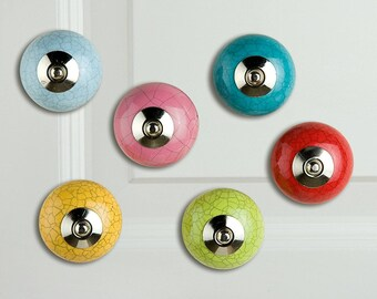 Furniture knobs set of 6 colorful craquele ceramic