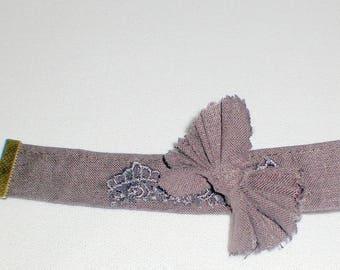 Bracelet linen and bronze