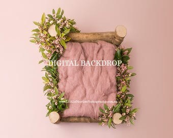 Digital Backdrop newborn girl wooden bed digital Background flowers floral wreath Photography prop download pink green High Res jpg file #51