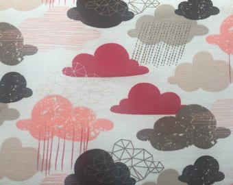 Printed Jersey, cotton jersey fabric printed red/brown clouds