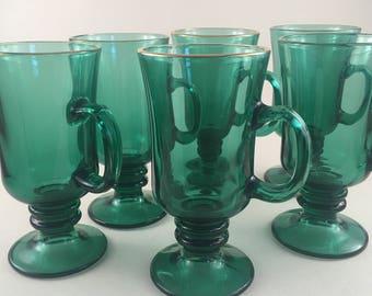 Set of 6 Vintage Libbey Dark Green Footed Mugs Irish Coffee/ Libbey Green Irish Coffee Mug/ Libbey Irish Coffee Pedestal Mugs Set 6 1980's