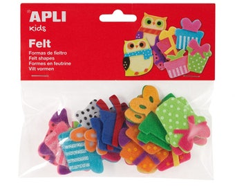 "18 assorted shapes ""Gifts"" - APLI Kids - Ref 13784 felt"