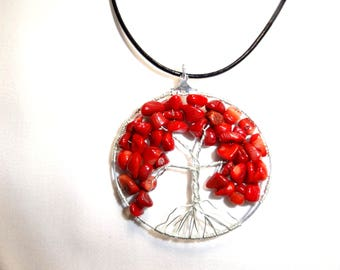 Root chakra fake tree of life pendant cord necklace