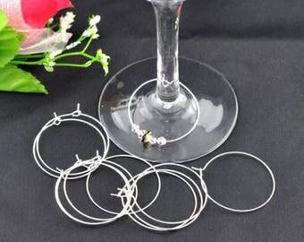100 pr wine glass rings / earring 20 mm