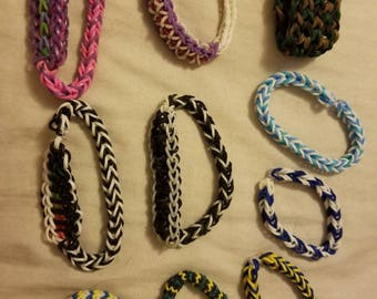 Rainbow loom (rubber band) bracelets