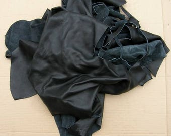 Black cowhide leather scraps