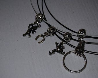 Black with charm pendants