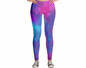 Watercolor Paradise Yoga Leggings, Women's Pants for Workouts and Running