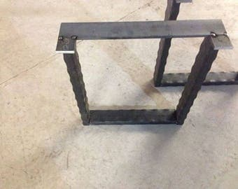 Distressed Stee Square Legs Set Of Two Metal Table Legs, U Shaped Iron Table  Legs