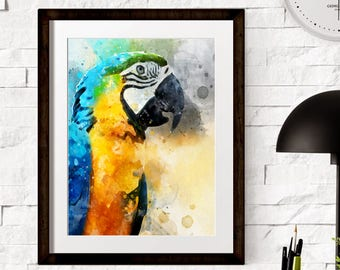 Watercolors Colorful Parrot Wall Prints  - Nursery Decors - Wall Decors - Nursery Prints - PRINTABLE - Wall Print - Watercolor Parrot Bird