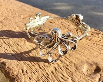 Octopus Bangle, Octopus Bracelet, Nautical Bangle