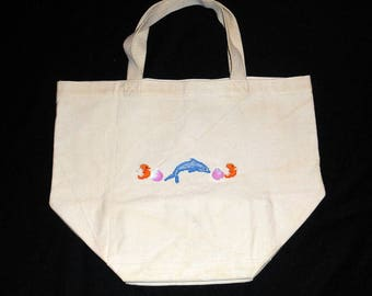 Hand embroidered cotton beach bag