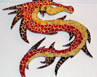 Soft toy: Chinese dragon in mosaics