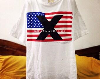 Vintage 90s Bootleg Great Malcolm X Tshirt