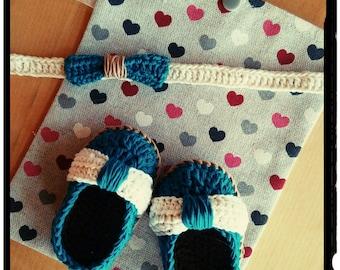 My little ' tites shoes and headband * handmade * crochet