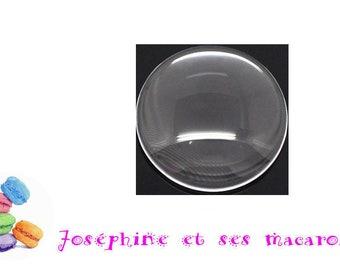 2 transparent glass 15 mm DOME cabochons