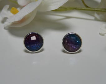 Earrings cabochon glitter gradient purple and blue