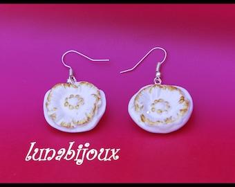 White polymer clay poppy earring