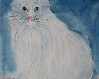White cat - original painting watercolor, original watercolor painting, cat