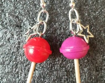 Candy sweet lollipop chupa polymer clay earring