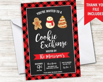 Cookie Exchange Invitation Invite Digital 5x7 Christmas Plaid Holiday Red Chalkboard Swap Party