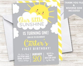 Sunshine Birthday Invite Invitation Boys Girl Neutral First 1st ANY AGE Digital Gray Yellow