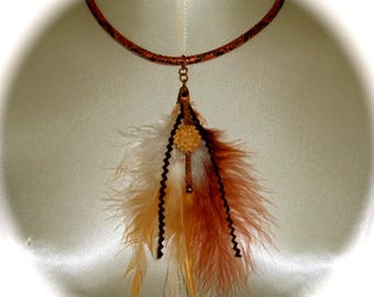 Necklace feathers snake style Native American from Talala - Mikasi