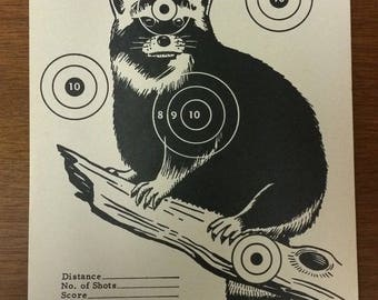 Vintage Sears Roebuck Co. Raccoon Paper Hunting Target No. 3 Original