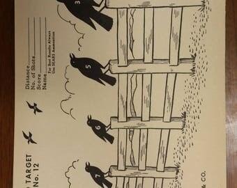 Vintage Sears Roebuck Co. Rail Bird Crow Paper Hunting Target No. 12 Original