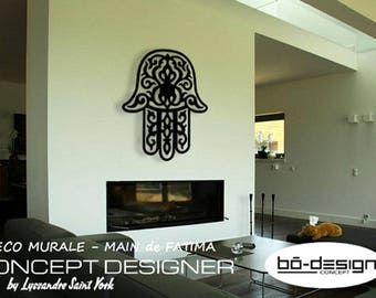 Oriental wall decoration, hand of fatima, 72 x 60 cm design acrylic gloss black, decorative wall, deco design, hamsa, décor