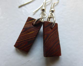 Small rectangle earrings wood light effect