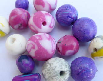 Set of beads to thread dyed girly pink purple white