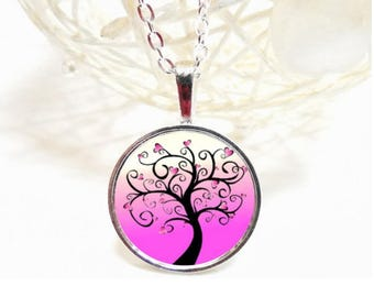 long pink tree heart glass cabochon necklace