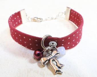 Bracelet handmade liberty Burgundy polka dots and bow ● ●
