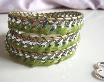 Bracelet model chan luu with metal chain silver/Leather Wrap Bracelet