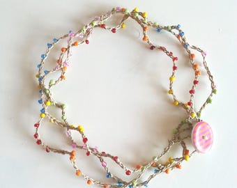 Necklace/Choker/natural fiber and glass beads multicolor bracelet/necklace bracelet