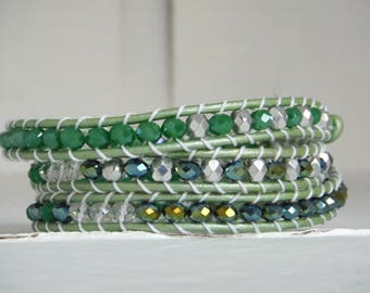 Bracelet type chan luu in shades of green and silver/wrap bracelet
